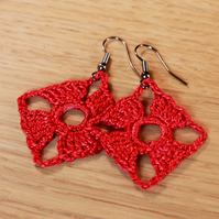 Crochet Diamond-Shaped Earrings