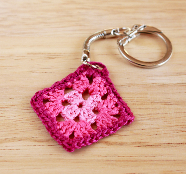 Colourful Pink 'Granny Square' Crochet Keyring