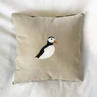"Handprinted 15"" Puffin Cushion Cover in Beige Upcycled Cloth"