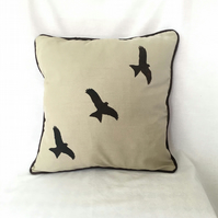 "Handprinted 15"" Red Kite Cushion Cover in Beige Upcycled Cloth"