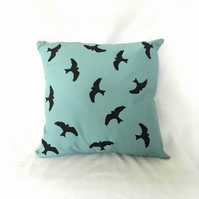 "Handprinted 15"" Red Kite Cushion Cover in Light Blue Upcycled Fabric"