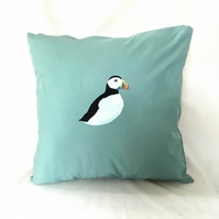Handprinted Puffin Cushion Cover in Light Blue Upcycled Fabric