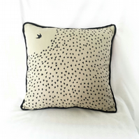"Handprinted 15"" Starling Flock Cushion in Beige Upcycled Cloth"