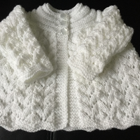 Hand Knitted White Matinee Cardigan, Fits 0 - 3 mths
