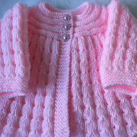 Hand Knitted Baby Girl's Pink Shimmer  Matinee Cardigan will fit 0-3 mths