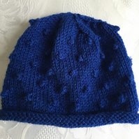 Hand Knitted Rolled Brim Hat , Fits Newborn