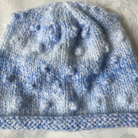Hand Knitted Rolled Brim Hat , Blue Marble Wool  Fits Newborn