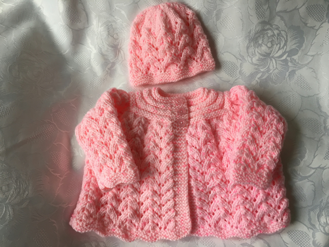 c76a1a884 Hand Knitted Baby Girls Matinee Cardigan and Hat. - Folksy