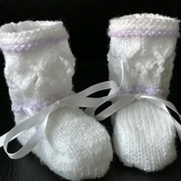 Baby Girl's Hand Knitted White and Lilac Booties fits 0 - 3 months