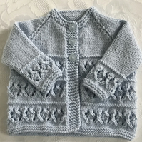Hand Knitted Baby Boy's Blue Matinee Cardigan fits 0-3 months