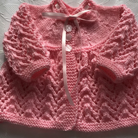 Traditional Hand Knitted Matinee Cardigan 0 - 3 Months