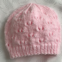 Baby Girl's Hand Knitted  Pink Shimmer hat, 0 -3 Months