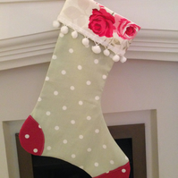 Christmas Stocking - Soft green and rose pinks !