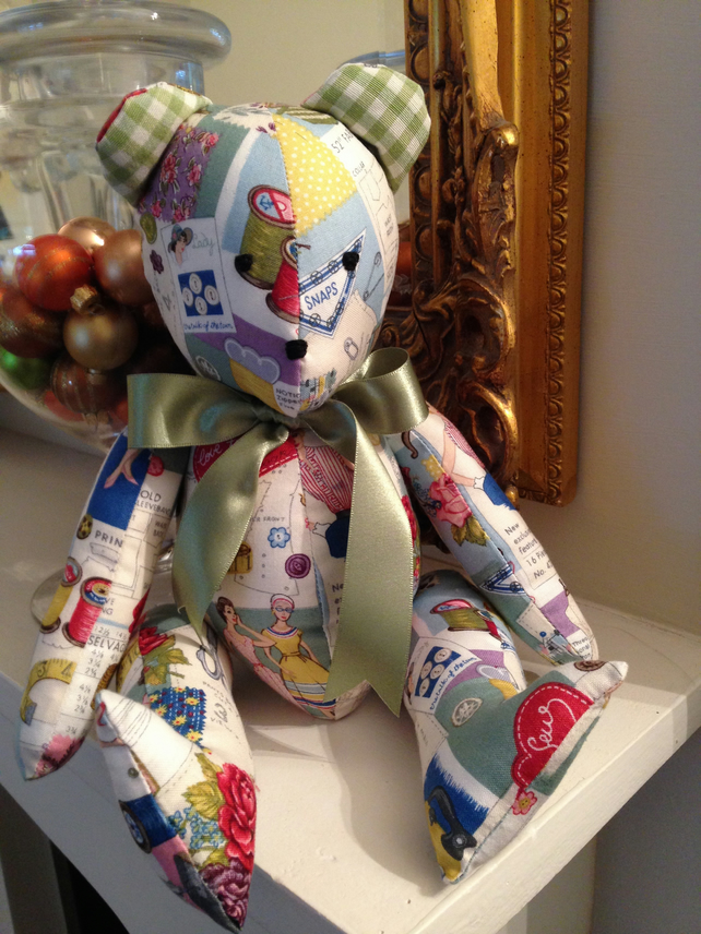 Verity- Jointed Teddy Bear - In vintage style fabric - Free Postage