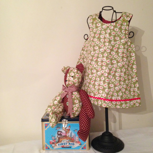 Jointed Teddy with Match girls dress