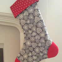 Scandinavian style heart Christmas Stocking - Grey and Red