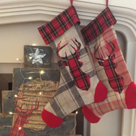 Tartan Christmas Stocking with Stag head design