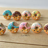 Kawaii Donut Ring - Choose Your Style - Adjustable One Size - Made in the UK usi