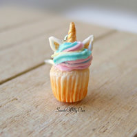 Unicorn Cupcake Charm (small) - Necklace or Charm Attachment