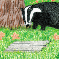 Badger. Print from an original pen and ink illustration
