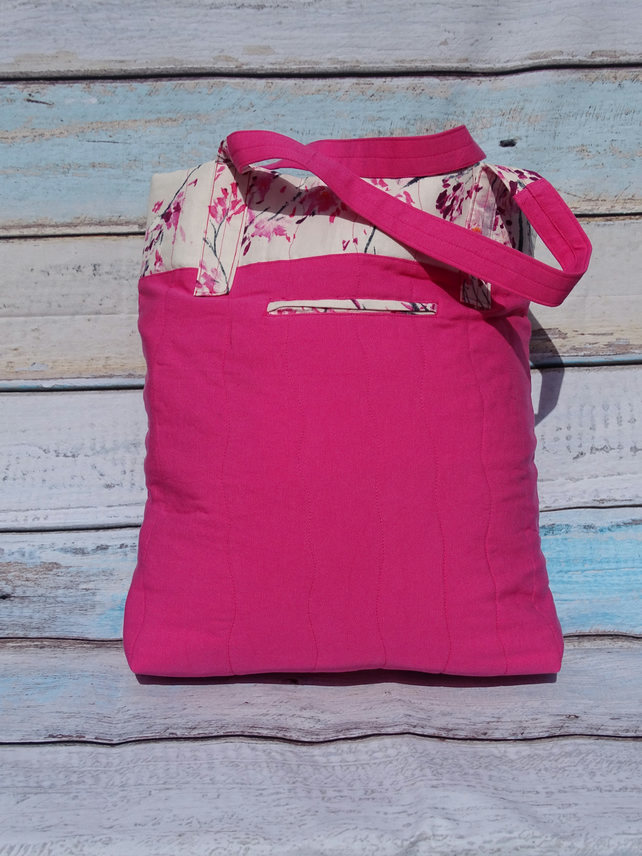 Padded body shopper tote bag, pink with floral trim OOAK