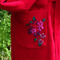 Upcycled red wool wrap coat with embroidery