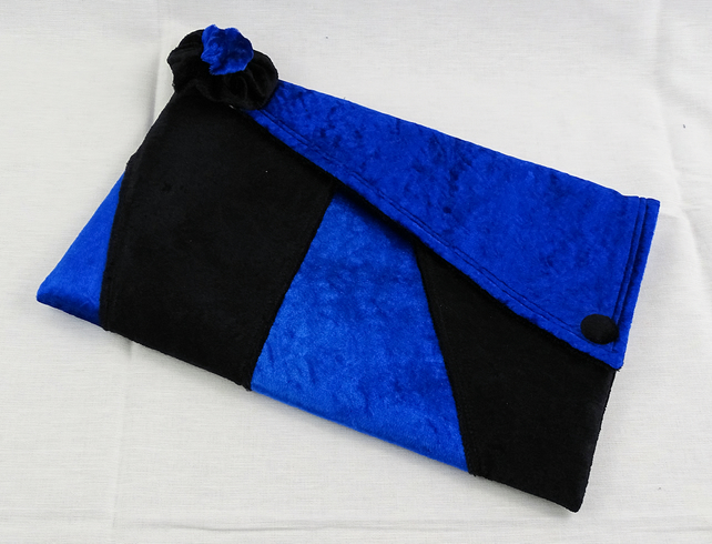 Blue and black crushed velour clutch bag, tablet case or pouch OOAK OFFER CODE