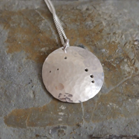 Silver Aries pendant: The constellation of Aries on textured sterling silver