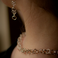 Clip-on Silver earrings: A pair of sterling silver byzantine chain maile earring