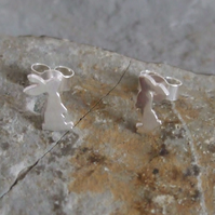Silver Rabbit earrings: A pair of Bunny shaped sterling silver earrings.
