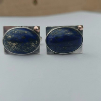 Lapis lazuli and sterling silver cufflinks