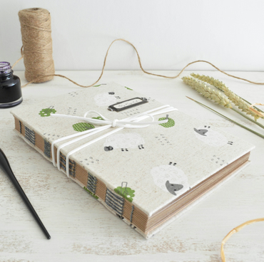 Hand bound Recipe Book- Linen Sheep design
