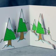 Pop Up Christmas Card - Frosty Trees