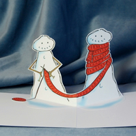 Pop Up Christmas Card - Silent Knit - Knitting Snowmen