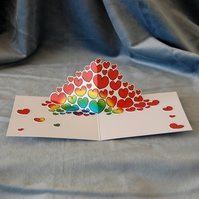 Pop Up Card Rainbow Hearts