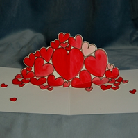 Original Cascading Hearts Pop Up Card for Valentines