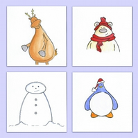 Hand Drawn Christmas Card Pack of 4 Originals (Ref B5)