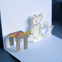 Pop-Up Card - Kitty Sleeping / With Gift