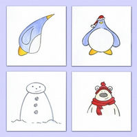 Hand Drawn Christmas Card Pack of 4 Originals (Ref B4)