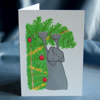 Christmas Card 4 Pack - Christmas Tree Cat