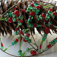 Red And Green Bead Brooch