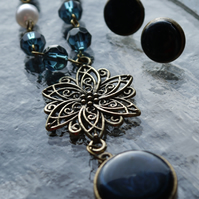 Midnight Blue Flower and Jewel Enamel Necklace and Stud Earrings Set