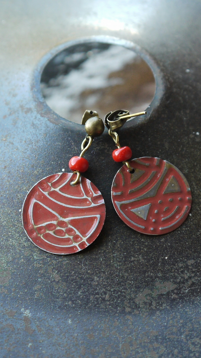 Red Embossed Stud Earrings