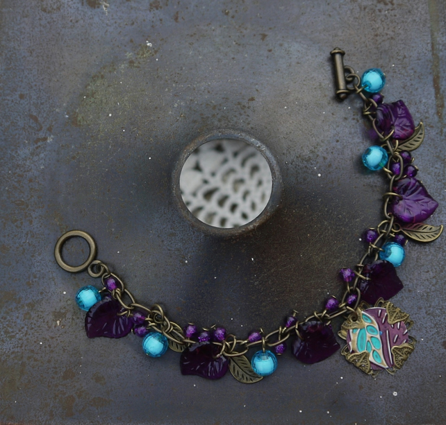 Purple Leaf Beaded Bracelet