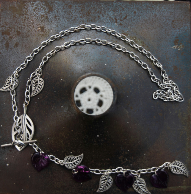 Long Chain Necklace with silver and purple leaf