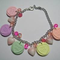 Polymer clay lovehearts charm bracelet