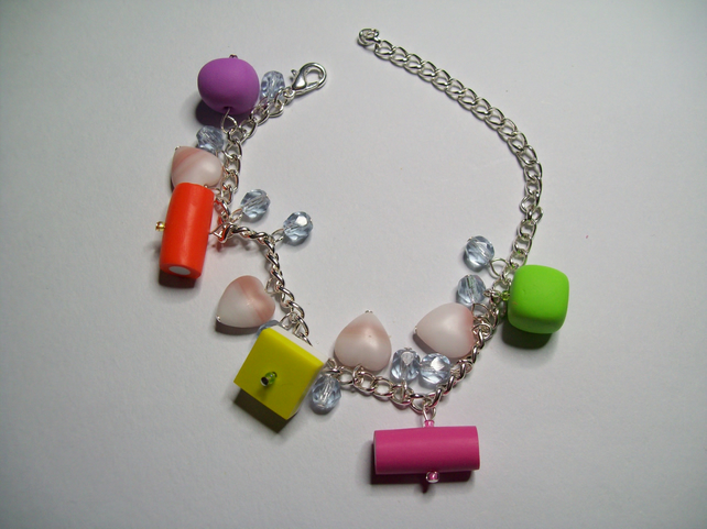 Polymer clay dollymixtures charm bracelet
