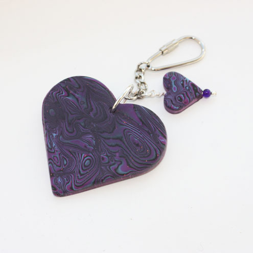 Polymer Clay Purple and Black Heart Bag Charm, Keyring