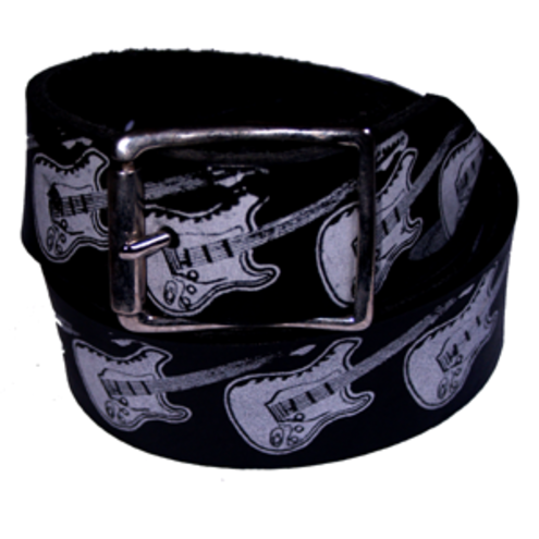 Black leather electric guitars belt
