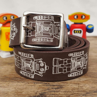 Robot Print Leather Belt